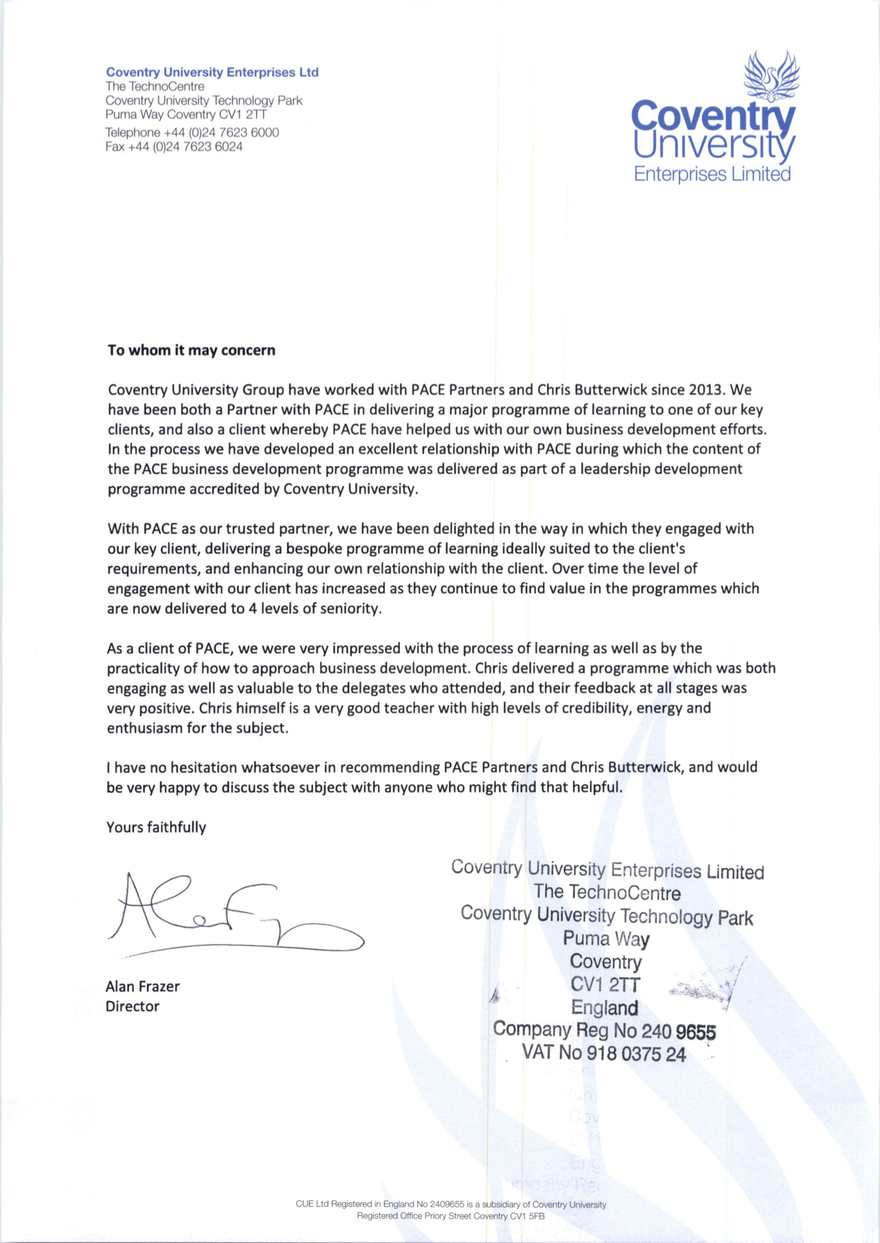 Coventry University Group PACE testimonial